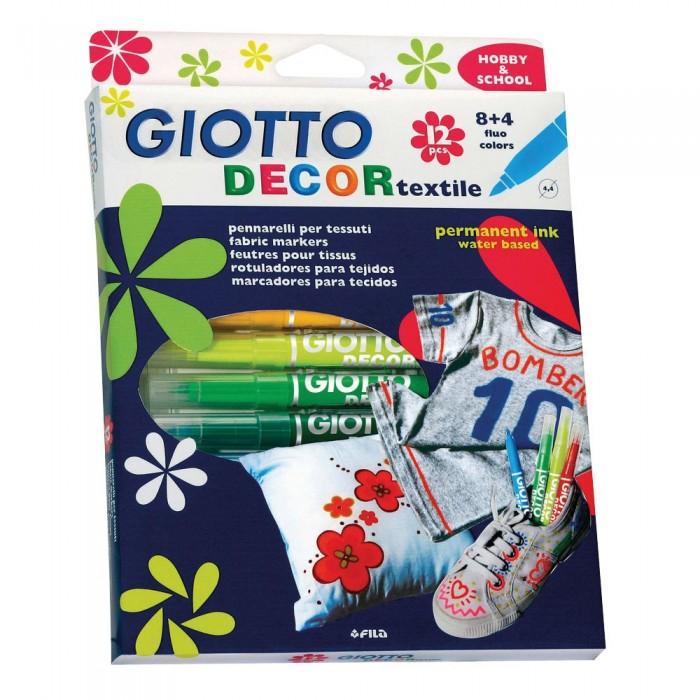 Фломастеры Giotto Decor Textile Специальные для декорирования по ткани 12 цветов