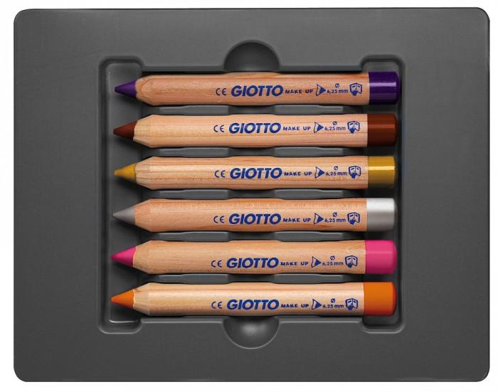 Giotto Make Up Matite Glamour Набор из 6 фантазийных цветов для гримаMake Up Matite Glamour Набор из 6 фантазийных цветов для гримаGiotto Make Up Matite Glamour Набор из 6 фантазийных цветов карандашей для грима.  Набор из 6 фантазийных цветов гламур карандашей для грима. Гипоаллергенный грифель, очень мягко рисует на коже, благодаря толщине 6,25 мм можно вытенять даже большие поверхности рисунка.   Грим долго держится, не растекается, не трескается. Не содержит парабенов, глютен. Не тестируется на животных. Легко смывается салфеткой с водой и/или косметическими средствами. В набор входит брошюра с идеями по нанесению рисунков.<br>