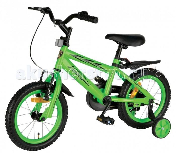 Велосипед двухколесный Lamborghini JL1SGJL1SGВелосипед двухколесный Lamborghini JL1SG для ребенка от 3-х лет. Юные гонщики по достоинству оценят яркие цвета и эргономичный дизайн велосипеда.  Особенности: Устойчивая и надежная стальная рама.  Удобное мягкое сидение.  Предусмотрены светоотражающие элементы для движения в темное время суток. Тормоза двух видов: классический задний и дополнительный передний с колодками.  Колеса диаметром 14 дюймов.  В качестве дополнительной опоры предусмотрена пара вспомогательных колёс, при необходимости колёса демонтируются.  Удобные широкие педали.  Велосипед очень надежен, сделан из качественных материалов и имеет отличное качество сборки.<br>