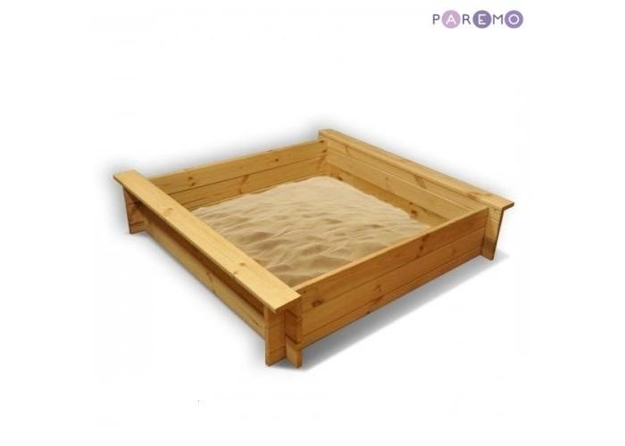 Paremo Песочница деревянная АлладинПесочница деревянная АлладинParemo Деревянная песочница Алладин не только сделает отдых ребенка веселым и интересным, но и украсит Ваш дачный участок или детскую комнату.   Основные характеристики: материал: дерево (сосна) с двух сторон песочницы напротив друг друга расположены 2 лавки рекомендованный возраст: 3+ габариты песочницы: 110 x 110 x 25 см вес: 12 кг древесина защищена от коррозии специальной пропиткой упаковка: транспортная картонная коробка. В комплекте: каркас песочницы, фурнитура, подложка.  ВНИМАНИЕ! Внешний защитный чехол в базовую комплектацию не входит. Приобретается отдельно.  Особенность: песочница классической формы с 2-мя лавками и двойной защитой: безопасная пропитка защитит древесину от коррозии, а тканевая подложка защитит песок от прорастания травой.<br>