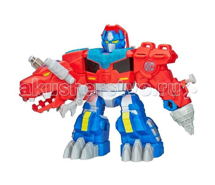 Transformers Hasbro Оптимус Прайм ДиноHasbro Оптимус Прайм ДиноTransformers Hasbro Оптимус Прайм Дино. Оптимус Прайм - лидер лидер автоботов. Он самоотвержен, всегда готов пожертвовать собой ради команды и пользуется большим уважением, как настоящий лидер. Оптимус Прайм - игрушка, разработанная специально для малышей. Его легко трасформировать, отсутствуют мелкие детали. Робот превращается в динозавра всего одним движением! Для этого нужно просто нажать кнопку на плече трансформера. Кроме того, игрушечный Оптимус Прайм издается различные звуки, а на корпусе загораются лампочки.  Основные характеристики: трансформируется в динозавра и обратно при нажатии кнопки звуковые и световые эффекты для работы необходимо 3 AA батарейки (пальчиковые).<br>