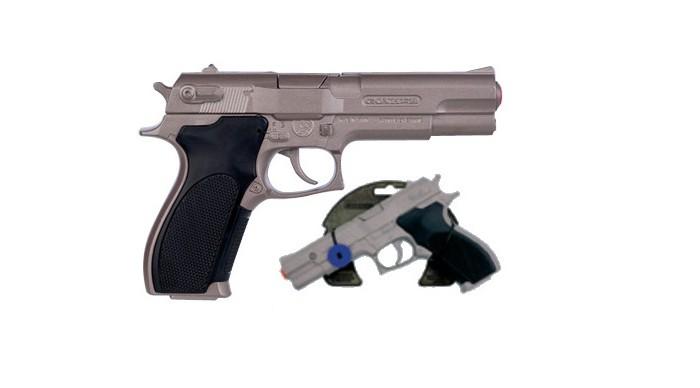 Gonher Игрушка Револьвер полицейский со звуком 3045/0Игрушка Револьвер полицейский со звуком 3045/0Gonher Револьвер полицейский со звуком на 8 пистонов, который сделан известным испанским производителем игрушечного оружия.   Особенности: Модель изготовлена из металла наивысшего качества.  Тщательно продуманная конструкция пистолета обеспечит максимальную безопасность ребенка во время игры.  Пистоны для оружия приобретаются отдельно.  Оригинальный дизайн и высокая реалистичность обязательно понравятся вашему мальчику. Размер: 19,5 х 12,5 см<br>