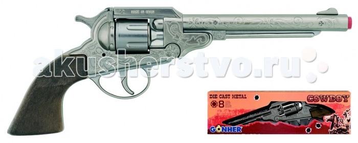 Gonher Игрушка Ковбойский револьвер (металл) 88/0Игрушка Ковбойский револьвер (металл) 88/0Gonher Ковбойский револьвер (металл) на 8 пистонов, который сделан известным испанским производителем игрушечного оружия.   Особенности: Модель изготовлена из металла наивысшего качества.  Тщательно продуманная конструкция пистолета обеспечит максимальную безопасность ребенка во время игры.  Пистоны для оружия приобретаются отдельно.  Оригинальный дизайн и высокая реалистичность обязательно понравятся вашему мальчику. Размер: 27,5 х 10 см<br>