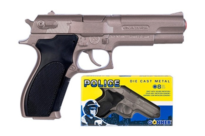Gonher Игрушка Пистолет Police (механический звук) 45/0Игрушка Пистолет Police (механический звук) 45/0Gonher Пистолет Police (механический звук) на 8 пистонов, который сделан известным испанским производителем игрушечного оружия.   Особенности: Модель изготовлена из металла наивысшего качества.  Тщательно продуманная конструкция пистолета обеспечит максимальную безопасность ребенка во время игры.  Пистоны для оружия приобретаются отдельно.  Оригинальный дизайн и высокая реалистичность обязательно понравятся вашему мальчику. Размер: 19,5 х 12,5 см<br>