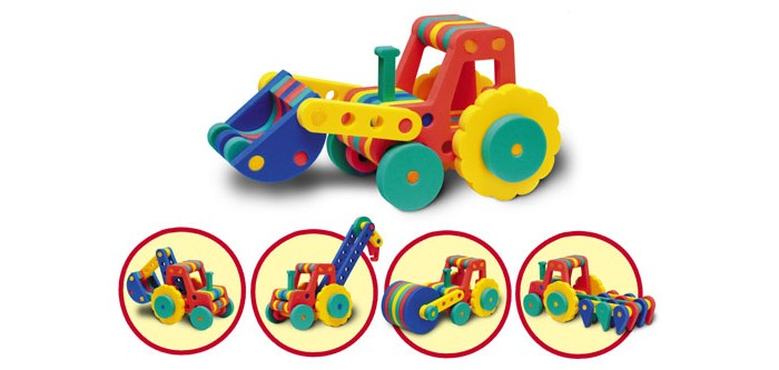 Конструктор Флексика Трактора 5 в 1Трактора 5 в 1Конструктор Флексика Трактора 5 в 1 представляет из себя набор деталей, которые позволяют собрать как минимум пять моделей игрушек. К тому же, комбинируя детали на свой вкус и фантазию, ребенок может видоизменять и усовершенствовать предложенные варианты или придумать собственные модели.  Развивающие мозаики и конструкторы серии Флексика изготовлены из мягкого полимерного материала - современного, легкого, прочного, абсолютно безопасного для ребенка. При намокании фигурки прилепляются легко к кафелю или любой другой ровной поверхности.  Самое замечательное, что развивающие игры Флексика подойдут даже самым активным детишкам, ведь детали из мягкого пластика не поддаются детским укусам и их сложно порвать.<br>