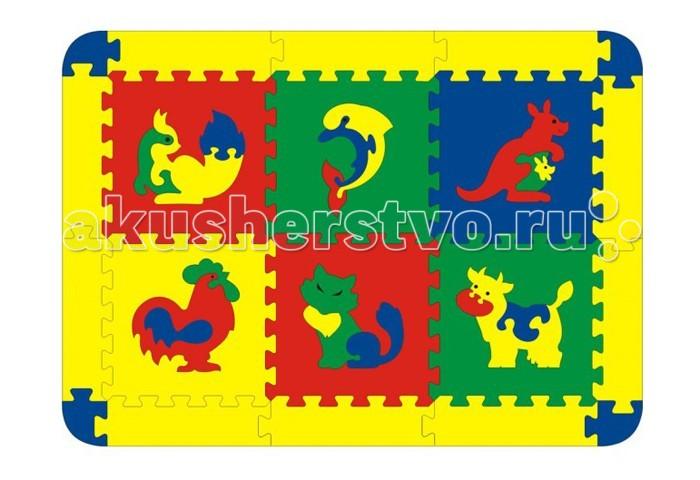 Игровой коврик Флексика с животными 6 деталей