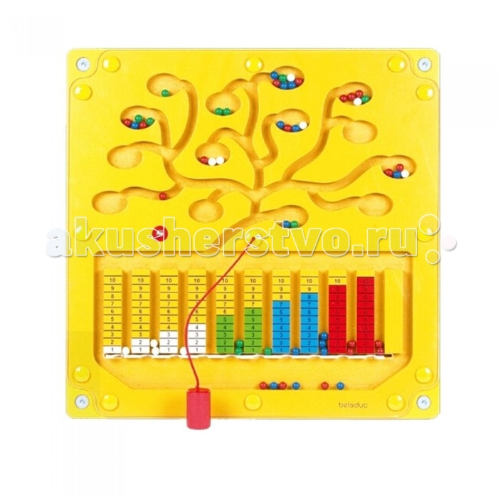 Деревянная игрушка Beleduc Настенный игровой элемент Числовое деревоНастенный игровой элемент Числовое деревоBeleduc Настенный игровой элемент Числовое дерево - это специально созданное дерево в игровой форме научит ребенка считать. С помощью магнитного карандаша ребенок должен разложить шарики по  количеству и цвету.<br>