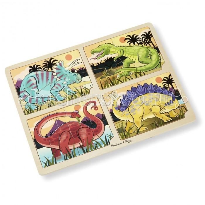 Деревянная игрушка Melissa &amp; Doug Пазл Динозавры 4 в 1Пазл Динозавры 4 в 1Melissa & Doug Пазл Динозавры 4 в 1 обязательно понравится вашему малышу и займет его внимание надолго.  Детские игрушки из дерева таят в себе глубокий смысл, это единение с природой, и ваш оберег. Деревянные детские игрушки раскрывают сказочный мир, который живет внутри нас, вместе с ними сказка оживает.  Игрушка развивает мелкую моторику рук и логическое мышление.<br>