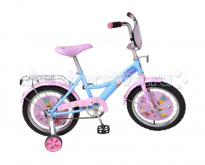 Велосипед двухколесный Navigator Peppa Pig 16 KitePeppa Pig 16 KiteВелосипед Navigator Peppa Pig 16 Kite - это хорошо собранный и надёжный велосипед для ребёнка. Модель подойдет для ребенка ростом 105-125 см. Детский велосипед с ярким дизайном и популярной лицензией Peppa Pig.  Велосипед оснащен багажной корзиной. Катание на велосипеде благоприятно влияет на здоровье, укрепляет мышцы, развивает зрение, учит ориентироваться в пространстве и принимать решения.   Особенности: Тип: детский Материал рамы: сталь Амортизация: отсутствует Конструкция вилки: жесткая Конструкция рулевой колонки: неинтегрированная, резьбовая Диаметр колес: 16 дюймов Материал обода: алюминиевый сплав Двойной обод: нет Шатун: односоставной Возможность крепления боковых колес: есть Боковые колеса в комплекте: есть Тип переднего тормоза: отсутствует Тип заднего тормоза: ножной Уровень заднего тормоза: начальный Количество скоростей: 1 Уровень каретки: начальный Конструкция каретки: неинтегрированная Тип посадочной части вала каретки: квадрат Количество звезд в кассете: 1 Количество звезд системы: 1 Конструкция педалей: платформы Конструкция руля: изогнутый Настройка положения руля: регулируемый подъем Материал рамки седла: сталь Комфорт: защита цепи, щиток на руле<br>