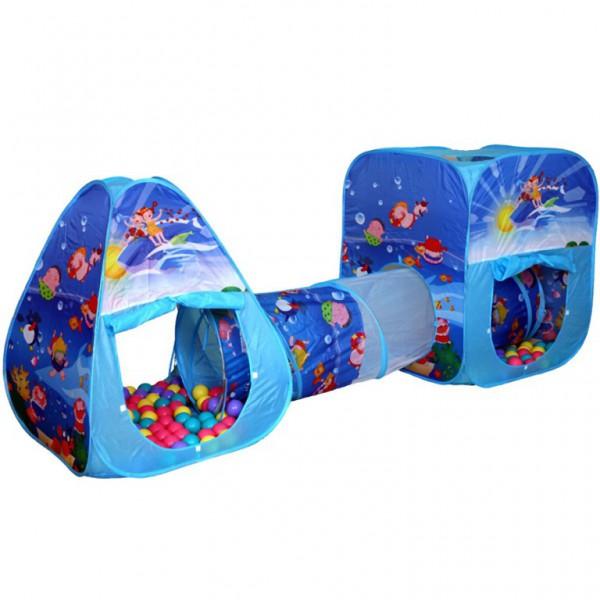 Палатки-домики BabyOne Двойная палатка с тоннелем Океан CBH-06 + 100 шаров