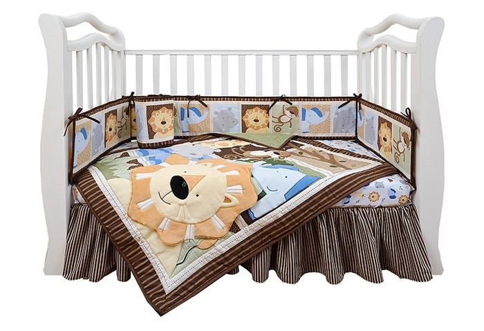 Комплект для кроватки Giovanni Shapito Leo Jungle 120х60Shapito Leo Jungle 120х60Комплект для кроватки Giovanni Shapito Leo Jungle 120х60 (7 предметов). Стильный дизайн, практичные и безопасные материалы, сочетание ярких красок и забавных персонажей станут великолепным украшением для детской комнаты.   Основные характеристики: одеяло-покрывало декорировано вышивкой и тканевыми аппликациями бампер состоит из 4-х частей, что позволяет использовать его как по всему периметру кроватки в варианте для младенца, так и в варианте диванчика для подросшего малыша, чехлы не съемные простыня на резинке надежно закрепляется на матрасе и не позволяет складкам воздействовать на кожу ребенка юбка придает изысканный внешний вид детской кроватке. Материал: поликоттон (Хлопок 65% / Поливолокно 35%)— смесовая практичная ткань нового поколения, специально предназначенная для производства постельного белья, одеял, подушек и матрасов. По сравнению с тканями, произведенными только из хлопчатобумажных волокон, поликоттон имеет следующие преимущества: -долговечность структуры ткани и устойчивость рисунка -хорошие гигиенические свойства -приятный на ощупь -малая усадка -низкая сминаемость. Размер:  простыня натяжная на резинке 120 х 60 см бампер 120 х 25 см - 2 штуки бампер 60 х 25 см - 2 штуки одеяло - покрывало с аппликацией 107 х 84 см юбка декоративная по периметру, высота 23 см.<br>