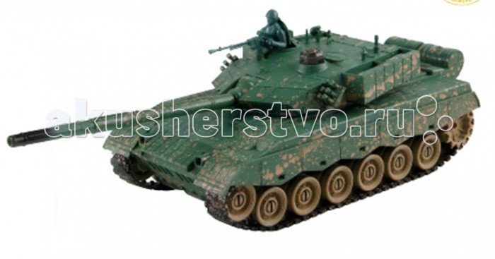 Yako Радиоуправляемый танк ZTZ-96A 1:24Радиоуправляемый танк ZTZ-96A 1:24Радиоуправляемый танк YAKO ZTZ-96A может не просто перемещаться в пространстве, он и стрелять из автоматической пневматической пушки.    Особенности:   Масштаб 1:24  Частота 27 МГц.   Пушка с инфракрасным излучаетелем.   Радиус действия пульта -12 м.   Радиус передачи ИК сигнала - 8 м.   Время работы 15-20 минут.   Время зарядки - 4 часа.   Скорость танка - 6 км/ч.   Демо режим.   Функция автоотключения.   Имитация отката при выстреле.   Движение танка во все стороны.   Поворот башни на 320 градусов.   Подъём на наклонную поверхность при угле наклона - до 45 градусов.   Питание танка от аккумулятора (в комплекте) Ni Cd 600 mAh 4,8V.  Питание пульта управления - от 2-х батареек типа АА (нет в комплекте).<br>