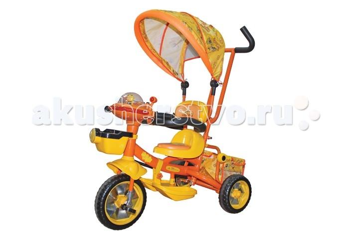 Велосипед трехколесный Пчелка Майя GT6633 со звукомGT6633 со звукомЯркий и красочный Велосипед трехколесный Пчелка Майя GT6633 со звуком- обязательно порадует вашего малыша. Поездки на нем будут отдыхом и вам, и вашему малышу.  Особенности велосипеда: съемная ручка для родителей подставка для ножек мягкое удобное сиденье солнцезащитный регулируемый тент игровая музыкальная панель с фигуркой пчелки Майи две корзины для игрушек (большая находится сзади, а маленькая прикреплена впереди руля) надежные защитные бортики, чтобы малыш не выпал из велосипеда металлические диски шины из мягкого полимера<br>