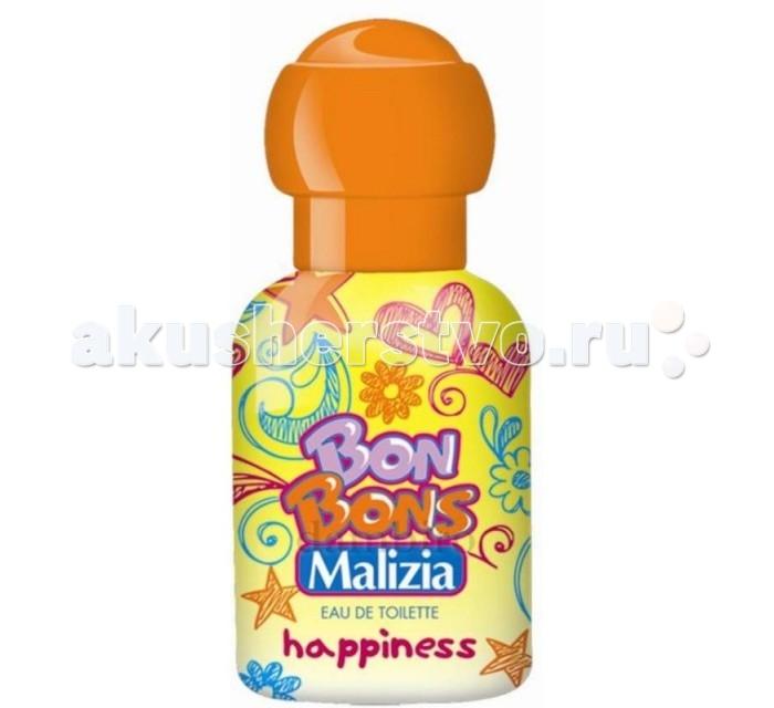 Malizia Туалетная вода Happiness 50 млТуалетная вода Happiness 50 млMalizia Туалетная вода Happiness 50 мл.  Аромат солнечный, веселый, игристый, как вы... Блестящие аккорды розового грейпфрута, мягкие ноты цветов апельсина и сицилийского бергамота сплетаются в волшебную гармонию, которая дарит радость и наслаждение, открывает перед собой дверь в новый фантастический мир.   Счастье в маленьких капельках духов. Разработана специально для детской, чуствительной кожи. Гиппоаллергенно. Не содержит агрессивных компонентов.<br>