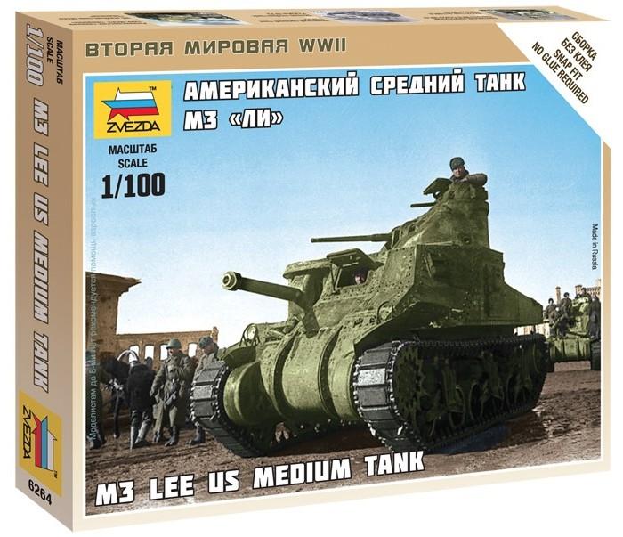 Конструктор Звезда Модель Американский танк М3 ЛиМодель Американский танк М3 ЛиМодель Американский танк М3 Ли  Новый отряд для Американской армии реализован в виде среднего танка М3 Ли. Сборная модель отличается исключительной детализацией и реалистичностью, что придает ей не только игровую, но и коллекционную ценность.   Чтобы собрать танк, вам не понадобится клей, детали скрепляются за счет конструкции. В комплекте есть подробная инструкция сборки.   Собранная модель вольется в игровой мир Art Of Tactics или станет украшением коллекции моделиста.   Особенности: Масштаб: 1:100 Количество деталей: 24 шт. Комплект: неокрашенные детали танка, флаг отряда, инструкция Длина готовой модели: 5.6 см<br>