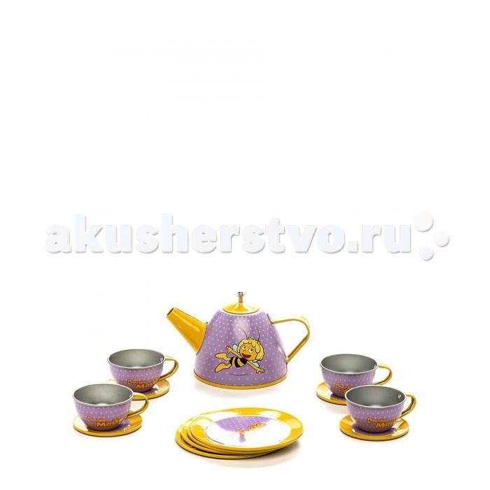 Пчелка Майя Набор посуды GT7417 Чайный сервиз 14 предметовНабор посуды GT7417 Чайный сервиз 14 предметовНабор посуды GT7417 Чайный сервиз 14 предметов рассчитан на 4 персоны. Есть чайничек, блюдца, чашечки и тарелки. Все это хранится в удобной коробке, где у каждого предмета свое место.   Сервиз изготовлен из металла.<br>