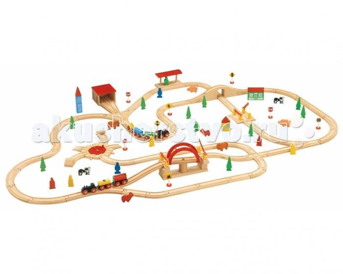 Balbi Железная дорога WT-041 (120 деталей)Железная дорога WT-041 (120 деталей)Balbi Железная дорога WT-041 (120 деталей). Особенностью набора WT-041 является большая площадь в разложенном виде - 171 х 109 см. Пусть габариты не смущают - доступность любого участка железной дороги для ребёнка очевидна, главное чтобы габариты комнаты позволяли разложить дорогу.   Набор изготовлен из дерева твердых пород. Качественная обработка всех деталей набора и окраска натуральными красками обеспечивают безопасность для детей. Вагоны поезда легко соединяются с помощью магнита и без труда входят в любой поворот. А дополнительные детали, такие как деревья, звери и знаки - помогут ребенку создать целый маленький мир.   В данном наборе 120 элементов: 2 паровоза, 4 вагона, 2 моста, ж/д станция, депо, 2 ж/д переезда, 8 фигурок животных, 7 дорожных знаков, 9 фигурок людей и другие элементы.<br>
