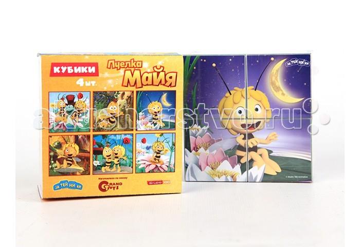 Деревянная игрушка Пчелка Майя Кубики Майя и ее друзья 4 шт.