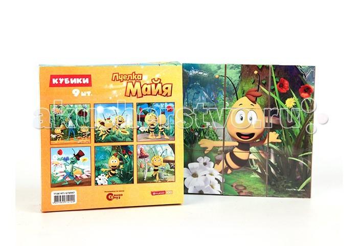 Деревянная игрушка Пчелка Майя Кубики Майя и ее друзья 9 шт.