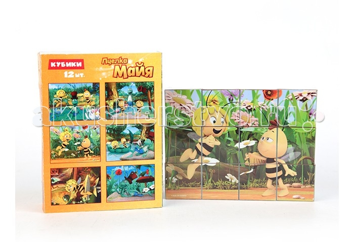 Деревянная игрушка Пчелка Майя Кубики Майя и ее друзья 12 шт.