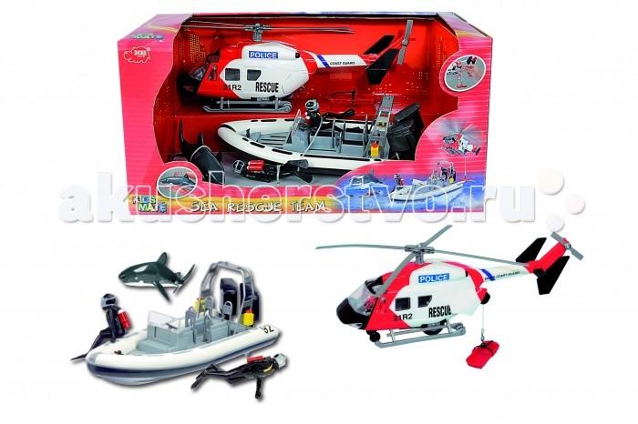 Dickie Набор: полицеский катер   вертолет 26 см
