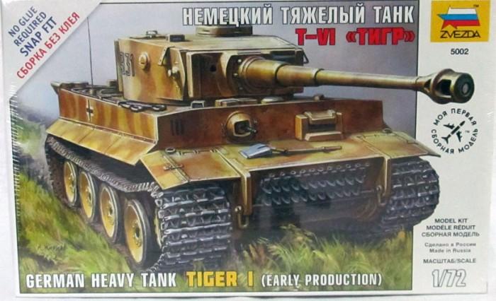 Конструктор Звезда Модель Немецкий танк Т-VI Тигр (без клея)Модель Немецкий танк Т-VI Тигр (без клея)Модель Немецкий танк Т-VI Тигр  Модель собирается без клея, но при этом сохраняется высокий уровень качества.  Самый известный танк Второй мировой войны. Данная модификация, появившаяся в 1943 году, имеет измененную башню, в отличие от 1942г. за счет этого появилась возможность разместить в башне радиостанцию и увеличить боезапас. Машины этой версии принимали участие в битве на Курской дуге и в других великих сражениях.  Особенности: Масштаб: 1:72 Количество деталей: 63 шт. Комплект: элементы для сборки, инструкция Длина готовой модели: 13 см<br>
