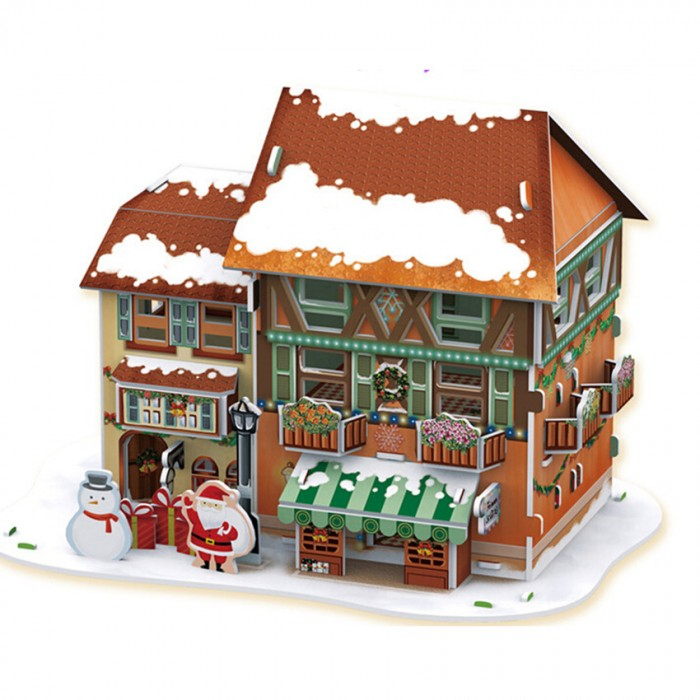 Конструктор CubicFun 3D пазл Рождественский домик 4 с подсветкой3D пазл Рождественский домик 4 с подсветкой3D пазл CubicFun Рождественский домик 4 с подсветкой в виде магазинчика рождественских украшений станет прекрасным подарком, как ребенку, так и взрослому! Этот замечательный пазл можно собирать всей семьей, увлекая ребенка в удивительный мир сказки и Рождества. Домик собирается без использования клея и ножниц, делая этот конструктор уникальным. Детали легко выдавливаются из картона и соединяются между собой с помощью специальных соединительных приспособлений.  Благодаря светодиодной подсветке, которая придает домику праздничное настроение, он станет отличным украшением интерьера детской комнаты.  Функции: помогает в развитии логики и творческих способностей ребенка; помогает в формировании мышления, речи, внимания, восприятия и воображения; развивает моторику рук; расширяет кругозор ребенка и стимулирует к познанию новой информации;  Практические характеристики: обучающая, яркая и реалистичная модель; идеально и легко собирается без инструментов; увлекательный игровой процесс; тематический ассортимент; новый качественный материал (ламинированный пенокартон).<br>