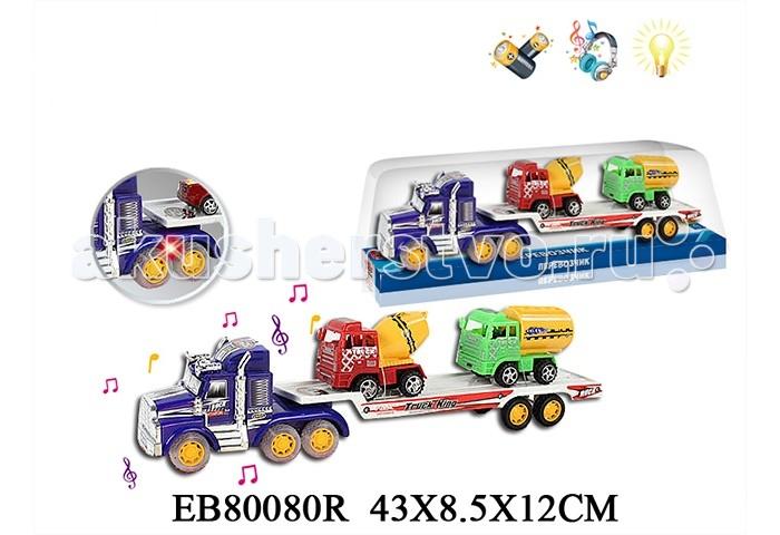 S+S Toys Машина Автовоз + 2 машины B24660Машина Автовоз + 2 машины B24660Машина Автовоз B24660 - это набор из грузовика-перевозчика и двух машинок спецтехники, со световыми и звуковыми эффектами.  Эти яркие машины и авто перевозчик обязательно на долго привлекут внимание вашего ребенка. Играя этим набором его не нужно катать самому, так как встроенный инерционный механизм позволяет запускать выбранную машину в самостоятельную поездку.  Для этого достаточно поставить игрушку на ровную поверхность, отвести на некоторое расстояние назад не отрывая колес и заводя таким образом инерционный механизм, а потом отпустить.  Игра с этими машинами и авто перевозчиком развивает глазомер и чувство направления, координацию и моторику рук, а так же фантазию для придумывания различных сюжетов игры. Звуковые и световые эффекты автовоза работают от батареек.<br>