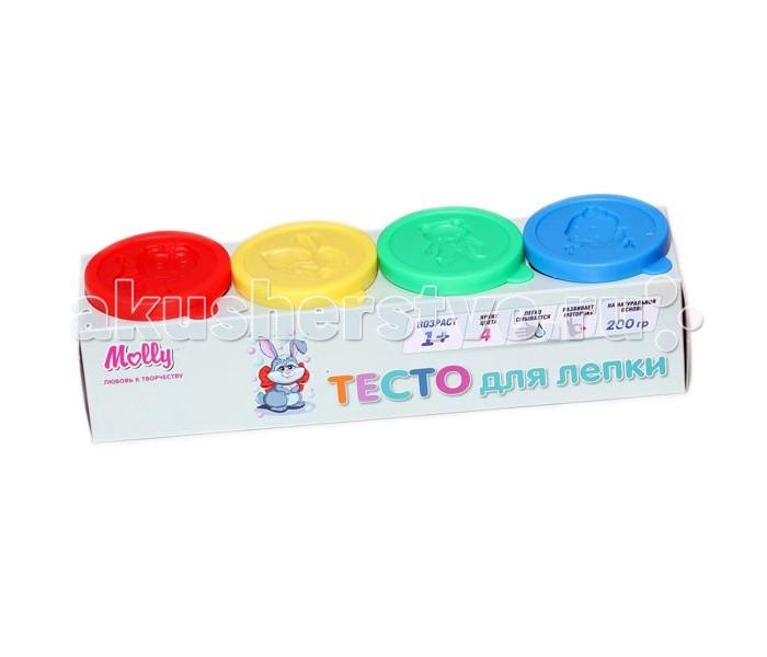 Molly Тесто для лепки 4 цвета по 50 граммТесто для лепки 4 цвета по 50 граммТесто для лепки 4 цвета по 50 грамм яркое и мягкое, имеет приятную консистенцию и запах. Из теста легко выкладывать объемные картины, создавать фигуры. Герметичная упаковка позволяет надолго сохранять исходные качества теста, для этого остатки теста необходимо положить в баночку и плотно ее закрыть.<br>