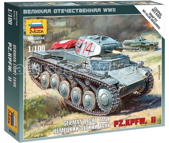Конструктор Звезда Модель Немецкий танк Т-II (без клея)Модель Немецкий танк Т-II (без клея)Модель Немецкий танк Т-II  Модель собирается без клея, но при этом сохраняется высокий уровень качества.  Серийно танк выпускался с 1934 по 1943 гг. Уже в польской кампании стало ясно, что он проигрывает своим аналогам, однако, к моменту нападения на Советский Союз в составе Вермахта было около тысячи таких машин. Множество их было потеряно уже в первые два месяца боёв. По некоторым данным 70 таких машин принимало участие в Курской Битве.  Особенности: Масштаб: 1:100 Комплект: элементы для сборки, инструкция Длина готовой модели: 4.2 см<br>