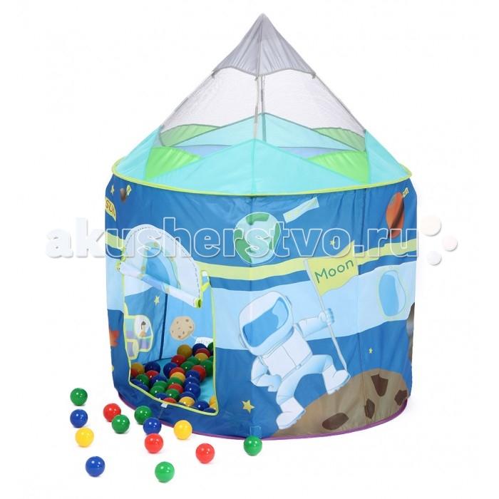Bony Игровой домик Ракета + 100 шариковИгровой домик Ракета + 100 шариковКрасочные и интересные игровые домики для детей — это лучшее решение родителей, чтобы ребенок мог активно играть с пользой для здоровья!  Домики очень компактные, легкие и их легко брать с собой, например, на дачу или на природу.  В комплекте 100 разноцветных шариков, играя которыми, малыши развивают ловкость и моторику рук.   Палатка имеет окошки из сетки. Специальная дверка закрепляется на липучках. Достаточно высокий порог не позволит выкатываться шарикам.  Размеры: 106&#215;106&#215;135 см<br>