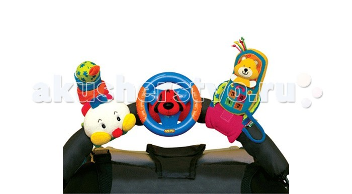 Подвесная игрушка KS Kids Гусеница, руль и мобильный телефонГусеница, руль и мобильный телефонГусеница, руль и мобильный телефон KS Kids  - эти веселые герои легко крепятся. Внутри игрушек - пластмассовые шарики. Перебирая погремушку в руках, дети массируют пальчики, что очень важно для развития мелкой моторики рук. В набор входят три игрушки. Каждая из них может крепиться с помощью липучек на кроватку малыша, прогулочную коляску или руку ребёнка.Мягкий телефон с медвежонком: крепление с липучкой является подставкой для телефона, сам телефон на шнурке, внутри погремушка. Руль и щенок: пластиковый руль с рельефными поверхностями. Щенок – пищалка. Руль крутится вправо и влево. Мягкая вибрирующая гусеница – если потянуть её за хвост, она вытягивается, а затем с вибрацией возвращается в исходное положение.<br>