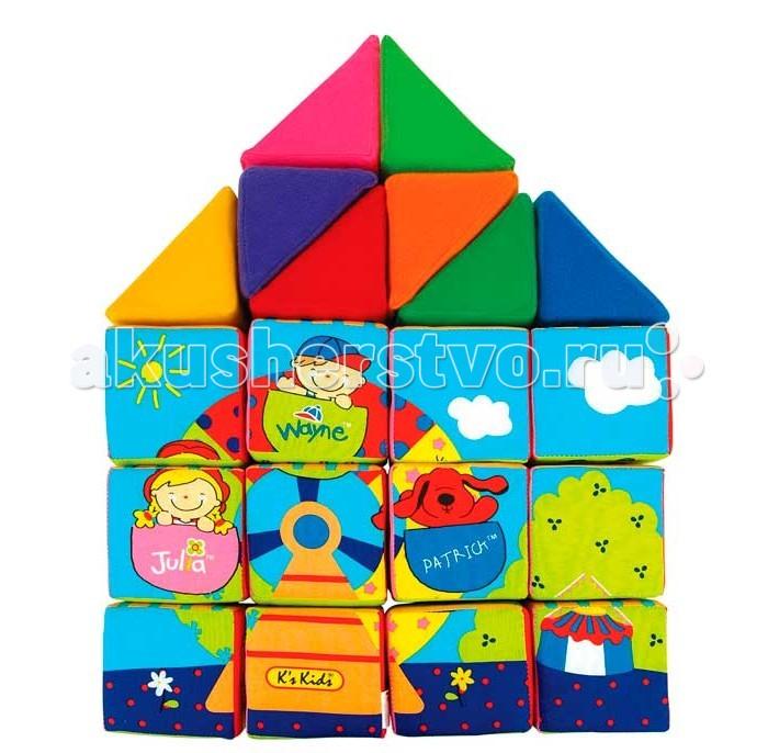 Развивающая игрушка KS Kids Кубики мягкие Учись, играяКубики мягкие Учись, играяКубики мягкие Учись, играя KS Kids.  Понимать причинно-следственные связи, мыслить логически научит ребенка набор мягкие развивающие кубики.   Кубики, длина ребра которых составляет 8 см, сделаны из мягкой разноцветной натуральной ткани, с безопасным наполнителем. Нашитые на каждую грань фигурки выполнены из различной ткани, что улучшает тактильную чувствительность пальцев ребенка.   На сторонах кубиков находятся числа, половинки изображений животных и разных видов транспорта - автомобиля, автобуса, грузовика и так далее. Расставив кубики по порядку, можно получить цельную картинку. Под специальными клапанами на сторонах кубика находятся картинки-следствия. Под клапаном с изображением дождя, например, спрятана яркая радуга. Все 12 кубиков можно сложить в большое панно, и получится парк с качелями.<br>