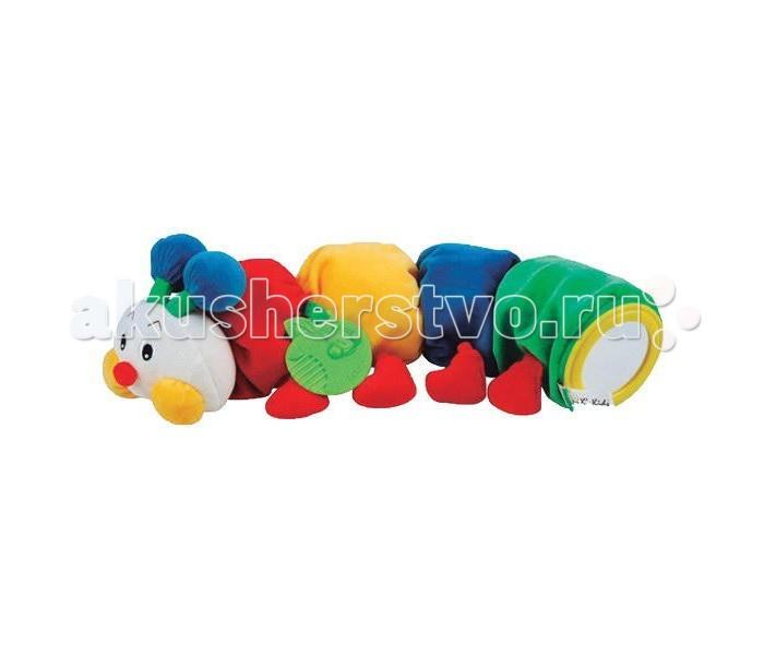 Развивающая игрушка KS Kids Гусеничка с прорезывателем KA494Гусеничка с прорезывателем KA494Развивающая мягкая игрушка Гусеничка с прорезывателем KS Kids.   Разноцветный конструктор - гусеничка состоит из головы и 4 круглых частей с различными развивающими элементами (шуршащий листочек, прорезыватель в виде яблочка, безопасное зеркальце и колокольчик внутри игрушки).   Игрушка способствует развитию мелкой моторики ручек и логического мышления малыша.<br>