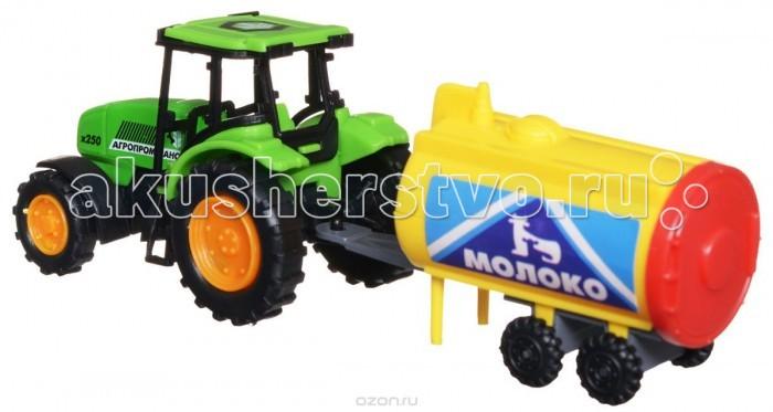 Технопарк Трактор с прицепомТрактор с прицепомТехнопарк Трактор с прицепом 14,5 см в коробке 2 х 20 шт.  Трактор с прицепом ТехноПарк, изготовленный из прочного и безопасного материала, станет любимой игрушкой вашего малыша. Игрушка представляет собой модель трактора зеленого цвета и прицеп серо-красного цвета. Прицеп может с легкостью отсоединяться от трактора.  Трактор отлично подойдет для игр ребенка дома, или на свежем воздухе. Ребристые колеса трактора обеспечивают прочное сцепление с дорогой, не давая скользить технике по полу.<br>