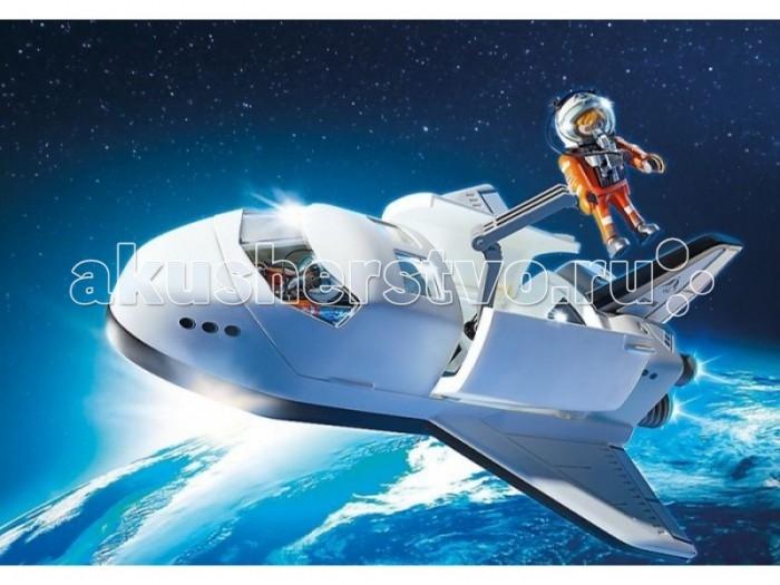 Конструктор Playmobil Космическая миссия: Космический шаттлКосмическая миссия: Космический шаттлМодель космического шаттла дополнена световыми эффектами - светятся задние огни.   В комплекте два астронавта. Шаттл дополнен стреляющей пушкой, способной разбивать метеориты. Крыша шаттла съемная, так же открываются люки. Створки грузового отсека оснащены шарнирными замками.  Освещение и съемные сиденья в грузовом отсеке.  Шасси можно сложить.  Крыша кабины снимается.  Две двери грузового отсека откидные.  Поворотный шарнирный рычаг для крепления бортовой пушки или космонавта для наружного применения.  Для работы требуется 3 микробатарейки 1.5 V, нет в комплекте.  Конструкторы позволяют придумать интересную игру с перестановкой предметов. В процессе игры малыш развивает воображение, любознательность и образное мышление.  Продукция сертифицирована, экологически безопасна для ребенка, использованные красители не токсичны и гипоаллергенны.<br>