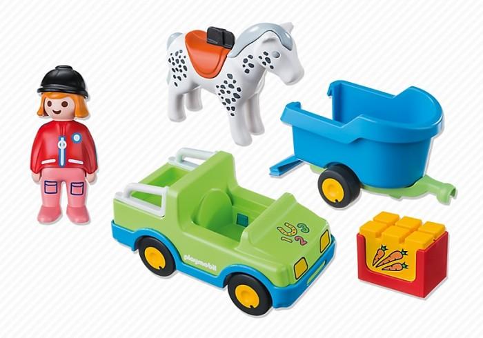 Конструктор Playmobil 1.2.3. Автомобиль с коневозкой1.2.3. Автомобиль с коневозкойИгровой набор «Автомобиль с коневозкой» - еще одна прекрасная игрушка для маленьких любителей животных. Фигурка жокея может и кататься на лошади, и водить автомобиль. Лошадка загружается в коневозку при помощи откидывающегося пандуса, сам прицеп надежно фиксируется к автомобилю на фаркоп. Малыш сможет кормить коняшку – в наборе есть бокс с игрушечной морковкой. Вариантов игры вместе с такими персонажами – не перечесть!  В набор входят: 1 автомобиль, 1 фигурка жокея, 1 фигурка лошади, 1 коневозка. Дополнительные аксессуары: 1 ящик с кормом.  Описание набора: Автомобиль: 1 сидячее место, открытый верх, вместительный багажник со стойками, фаркоп, 4 подвижных колеса Коневозка: откидной пандус, 2 подвижных колеса, стояночный фиксатор-.  Описание фигурок: 1 девушка-жокей. У фигурки подвижные ноги (что помогает легко размещать её в сидячем положении), дизайн одежды соответствует тематике набора. Лошадь – седло с фиксатором для фигурки жокея.  С набором Playmobil «Автомобиль с коневозкой» ваш ребенок сможет создать множество игровых сюжетов!  Серия 1.2.3 Playmobil - потрясающие конструкторы из Германии для детей от 1,5 до 3 лет! С первой маленькой фигурки и до последней большой детали ребенок будет увлечен и восхищен разнообразием, функциональностью, оригинальным дизайном и удобными формами игрушек. Теперь вопрос «Что подарить?» исчезнет у родителей и близких. Конечно, Playmobil!  Продукция сертифицирована, экологически безопасна для ребенка, использованные красители не токсичны и гипоаллергенны.<br>
