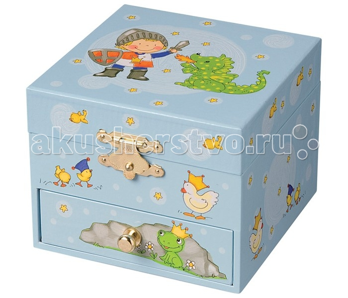 Trousselier Музыкальная шкатулка-куб Prince &amp; DragonМузыкальная шкатулка-куб Prince &amp; DragonКрасивая музыкальная шкатулка-куб Prince & Dragon с одним отделением для хранения мелочей, выдвижным ящичком и крутящейся под музыку фигуркой дракончика.  Выполненная из дерева, имеет небольшое зеркальце внутри.   Малыш будет в восторге! Не забываемый подарок на день рождения!   Музыкальный механизм заводится с помощью маленького ключика. (MAGIC FLUTE - LA FLUTE ENCHANTEE - MOZART)  Размер: 11 х 9 х 11 см  Поставляется в подарочной коробке Trousselier.   Французский бренд Trousselier вот уже более 40 лет создает уникальные коллекции детских игрушек, товаров для дома и интерьера. Вся продукция изготовлена из натуральных материалов с соблюдением высоких европейских стандартов качества.<br>