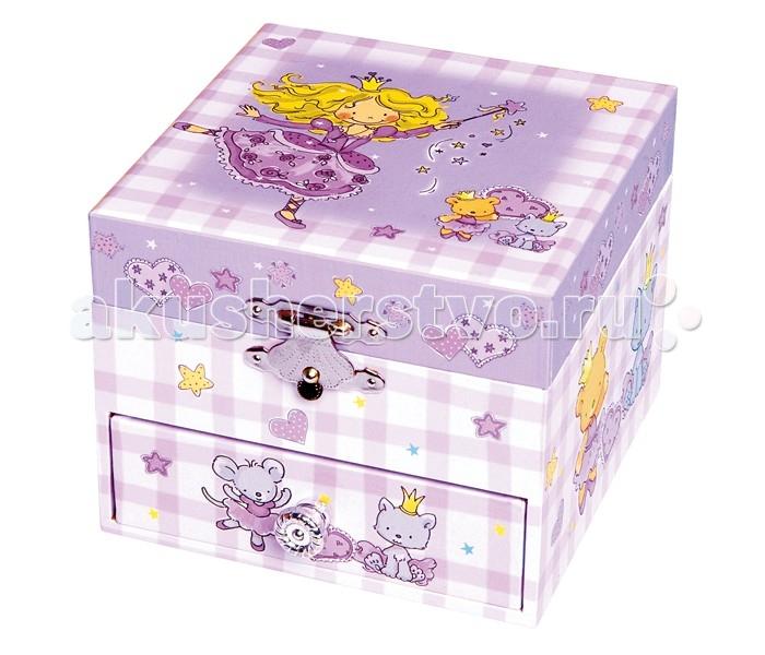 Trousselier Музыкальная шкатулка-куб PrincessМузыкальная шкатулка-куб PrincessКрасивая музыкальная шкатулка-куб Princess с одним отделением для хранения мелочей, выдвижным ящичком и крутящейся под музыку фигуркой принцессы.  Выполненная из дерева, имеет небольшое зеркальце внутри.   Малыш будет в восторге! Не забываемый подарок на день рождения!   Музыкальный механизм заводится с помощью маленького ключика. (FEELINGS)  Размер: 11 х 9 х 11 см  Поставляется в подарочной коробке Trousselier.   Французский бренд Trousselier вот уже более 40 лет создает уникальные коллекции детских игрушек, товаров для дома и интерьера. Вся продукция изготовлена из натуральных материалов с соблюдением высоких европейских стандартов качества.<br>