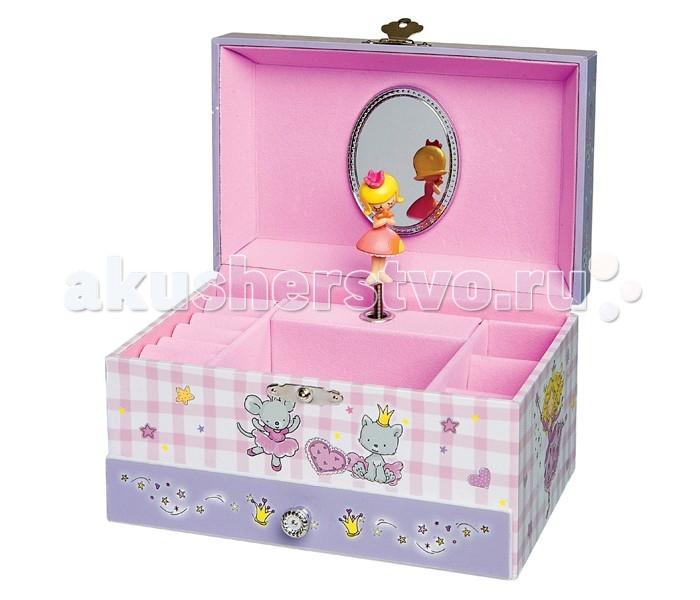 Trousselier Музыкальная шкатулка PrincessМузыкальная шкатулка PrincessКрасивая музыкальная шкатулка Princess с отделениями для хранения драгоценностей и крутящейся под музыку фигуркой принцессы.  Выполненная из дерева, имеет небольшое зеркальце внутри.   Каждая девочка будет в восторге! Не забываемый подарок на день рождения!   Музыкальный механизм заводится с помощью маленького ключика. (MINUET - MENUET - W.A. MOZART)  Размер: 18 х 11 х 10 см  Поставляется в подарочной коробке Trousselier.   Французский бренд Trousselier вот уже более 40 лет создает уникальные коллекции детских игрушек, товаров для дома и интерьера. Вся продукция изготовлена из натуральных материалов с соблюдением высоких европейских стандартов качества.<br>
