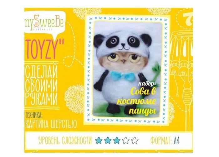 ToyzyKit Картина шерстью Сова в костюме пандыКартина шерстью Сова в костюме пандыЗамечательный набор для рукоделия Картина шерстью станет отличным подарком для любого творческого ребенка.   С помощью детальной инструкции, схемы и материалов ребенок сможет создать своими руками потрясающую поделку. Готовая работа может стать достойным подарком или сувениром для друзей и близких.   Все материалы для изготовления игрушки являются 100% натуральными и качественными.  Состав набора: детальная инструкция порядок работы шерсть пинцет подложка (А4) дополнительные элементы  Технику создания картины шерстью иногда называют шерстяной акварелью, поскольку для ее создания используются сваленная разноцветная шерсть, а получившийся результат имеет определенное сходство с картиной, нарисованной акварелью. В то же время картина шерстью имеет существенное преимущество: ошибки при работе легко исправить, для этого достаточно удалить неудачный слой и положить его вновь. В случае с акварелью исправить художественные неточности будет гораздо сложнее.  Создание картины шерстью - это творческий процесс, который разгружает нервную систему, развивает воображение, творческий потенциал.<br>