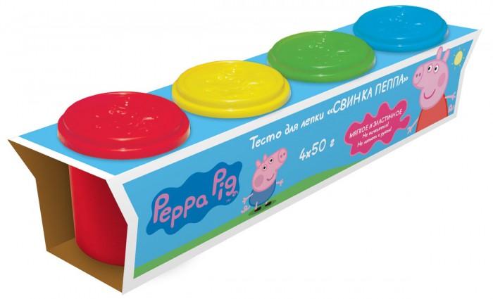 Peppa Pig Тесто для лепки Свинка Пеппа 4 цветаТесто для лепки Свинка Пеппа 4 цветаТесто для лепки Свинка Пеппа мягкое, пластичное, не липнет к рукам и не пачкается.  В наборе 4 ярких цвета теста для лепки в баночках по 50 г. Крышки баночек выполнены из высококачественного пластика в виде формочек с изображением героев мультфильма.  Полезные советы, размещенные на коробочке, помогут слепить фигурку Свинки Пеппы, придумать и создать свои собственные поделки. Цвета можно смешивать и получать новые оттенки.<br>