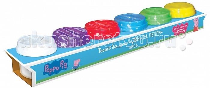 Peppa Pig Тесто для лепки Свинка Пеппа 6 цветовТесто для лепки Свинка Пеппа 6 цветовТесто для лепки Свинка Пеппа мягкое, пластичное, не липнет к рукам и не пачкается.  В наборе 6 ярких цветов теста для лепки в баночках по 30 г. Крышки баночек выполнены из высококачественного пластика в виде формочек с изображением героев мультфильма.  Полезные советы, размещенные на коробочке, помогут слепить фигурку Свинки Пеппы, придумать и создать свои собственные поделки. Цвета можно смешивать и получать новые оттенки.<br>