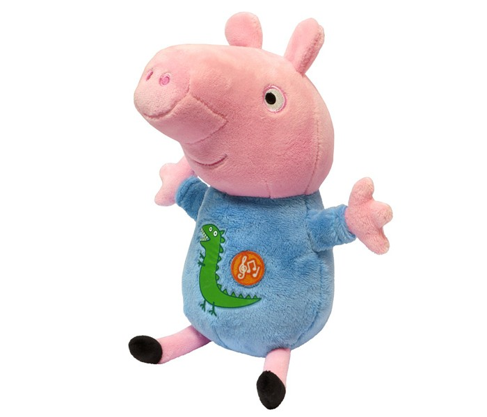 Мягкая игрушка Peppa Pig Джордж 25 смДжордж 25 смДжордж 25см - озвученная игрушка изготовлена из мягкой, приятной на ощупь велюровой ткани, плотно набита. Глаза и рот вышиты, на голубой пижаме – красочная аппликация в виде динозавра.  Звуковые эффекты: хрюканье и песенка.  Игрушка работает от 3 батареек типа AG13 или LR44 (в комплекте).<br>
