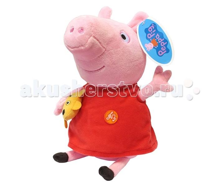 Мягкая игрушка Peppa Pig Пеппа с игрушкой 30 смПеппа с игрушкой 30 смПеппа с игрушкой 30см - мягкая и необыкновенно приятная на ощупь, так что обнимать Пеппу – одно удовольствие. Нажмите на животик, чтобы услышать музыкальное приветствие, 2 забавных стишка и веселую песенку из мультфильма.   Игрушка работает от 4 батареек типа AG13 или LR44 (в комплекте).<br>