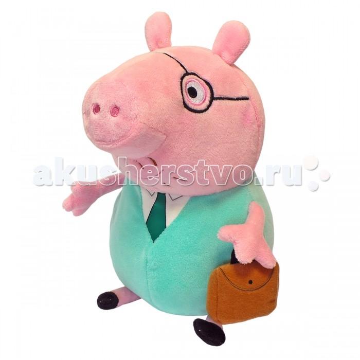 Мягкая игрушка Peppa Pig Папа Свин с кейсом 30 смПапа Свин с кейсом 30 смПапа Свин с кейсом 30 см - это замечательный подарок малышу к любому празднику. Папа Свин большой, необыкновенно мягкий и приятный на ощупь!   Увлекательная игра с новым другом активно развивает у малыша воображение, тактильное восприятие и коммуникативные навыки. А если приобрести другие игрушки серии «Peppa Pig», то ваш ребенок сможет оживить приключения любимых персонажей прямо у вас дома!<br>