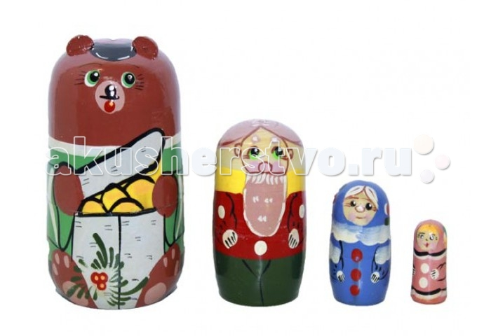 Деревянная игрушка RNToys Матрешка Сказка Маша и Медведь 4 в 1