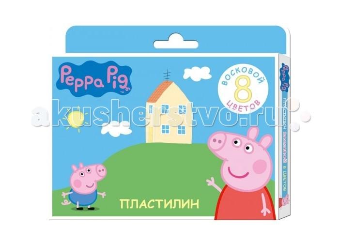 Peppa Pig Пластилин восковый 8 цветовПластилин восковый 8 цветовПластилин восковый 8 цветов Свинка Пеппа поможет вашему ребенку создавать не только интересные поделки но и яркие рисунки.  Изготовленный на основе природного воска и натуральных наполнителей, этот пластилин обладает особой мягкостью и пластичностью. Он легко разминается и моделируется даже слабыми детскими пальчиками, не пачкается и не прилипает к рукам а так же рабочей поверхности. Не высыхает и не крошится, хорошо держит приданую ему форму.  Лепка активно развивает тактильное восприятие веса, фактуры и формы, позволяет совершенствовать воображение и пространственное мышление. В наборе 8 цветов пластилина, легко смешивающегося друг с другом.<br>