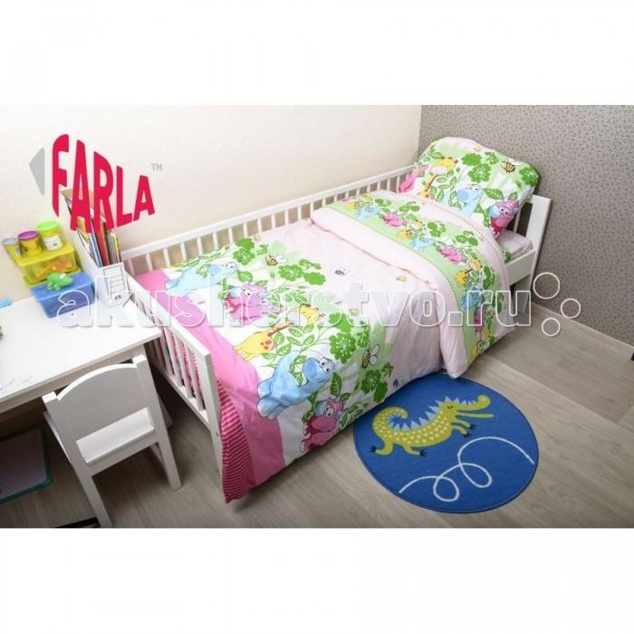 Комплект для кроватки Farla Dino 170х80 (5 предметов)Dino 170х80 (5 предметов)Детский комплект постельного белья Dino (5 предметов) до 10 лет. Комплект идеально подходит к кроваткам IKEA и другим с размером спального места 80 х 170 см.  Кроватка Вашего малыша будет неотразимой и очень уютной. Ведь в комплект входит все необходимое для крепкого и безопасного сна малыша.  В комплект входит: простыня на резинке 80 х 170 см пододеяльник 150 х 210 см одеяло 150 х 210 см наволочка 40 х 60 см подушка 40 х 60 см  Материал - 100% хлопок.<br>