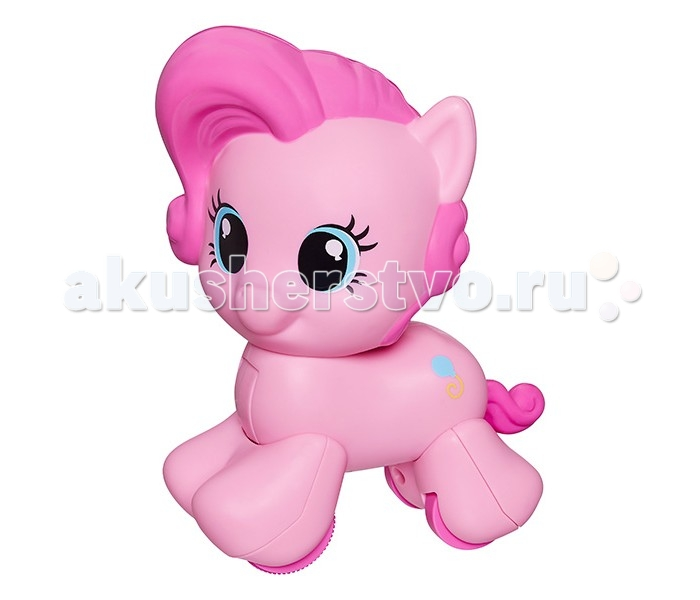 My Little Pony Моя первая пони Пинки ПайМоя первая пони Пинки ПайMy little Pony Моя первая пони Пинки Пай  Малышка Пинки Пай поможет ребенку научиться резво ползать или ходить! Эта игрушка отлично подходит для малышей до трех лет. Она яркая, забавная, а главное, является одной из самых любимых героинь мультфильма My Little Pony.   Итак, что же Пинки Пай делает? В ее копытца встроены самые настоящие ролики, на которых она довольно резво передвигается по комнате - малыша это наверняка заинтересует и ему захочется догнать лошадку. Чтобы пони поехала, просто нажмите на ее голову. Кстати, игрушка механическая - батарейки для работы не требуются. Игрушечная Пинки Пай выполнена из высококачественных материалов, а качество гарантировано известным производителем Hasbro.   У игрушки отсутствуют острые швы и мелкие детали - она абсолютно безопасна для ребенка.<br>